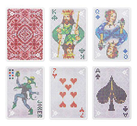 Pixel-themed playing cards