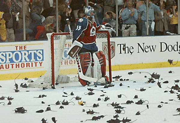 An image of the plastic rats that were thrown at Scott Mellanby during an NHL game