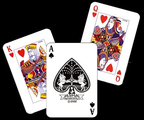 An image of playing cards on a black background