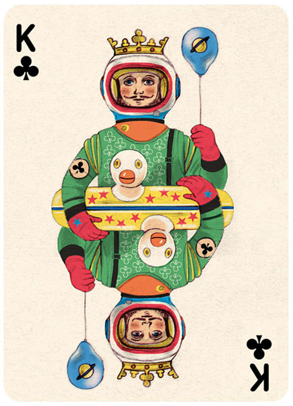 vintage playing card with color illustrated king character
