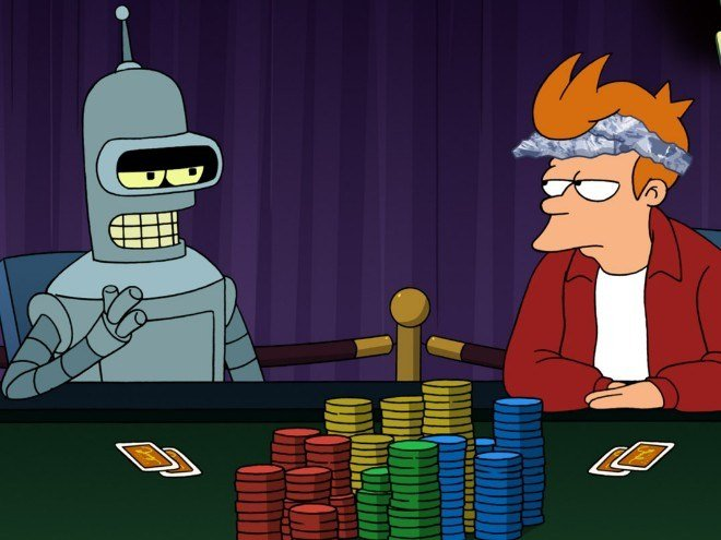 Futurama poker bot Bender vs human Fry