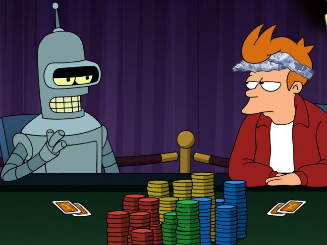 Futurama poker bot Bender vs human Fry