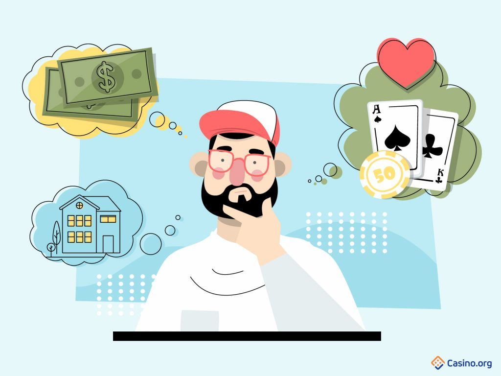Cartoon poker player thinking about what motivates him to play.