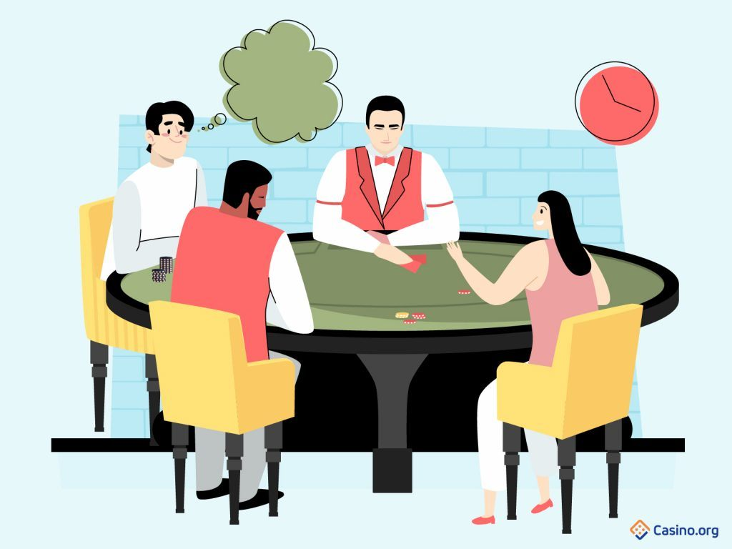 Cartoon poker players, with a man taking his time to make a decision.