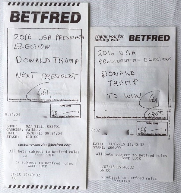 A bet slip on the Presidential election