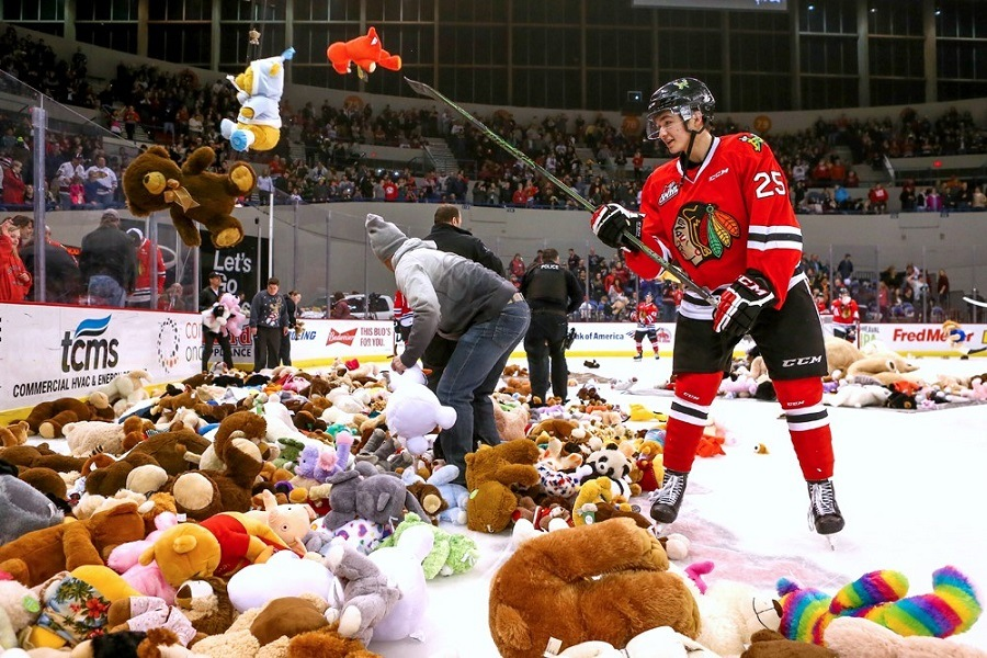 An image of the 14,361 teddy bears thrown onto the ice