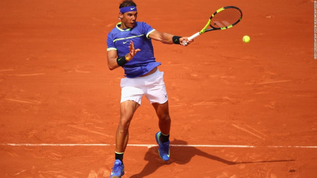 Rafael Nadal competing on his favourite surface