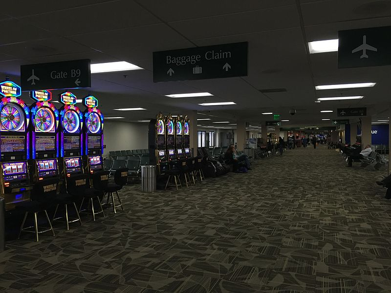 Casino slots upon arriving at the airport