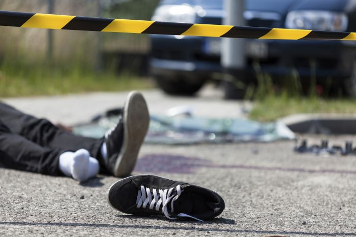 An image from the scene of a road accident