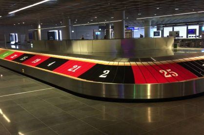Roulette themed baggage claim