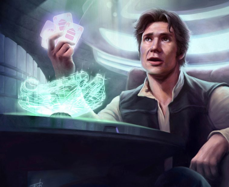 An image of Han Solo playing the game of Sabacc