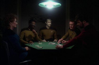An image of a poker game from a popular Sci-fi TV show