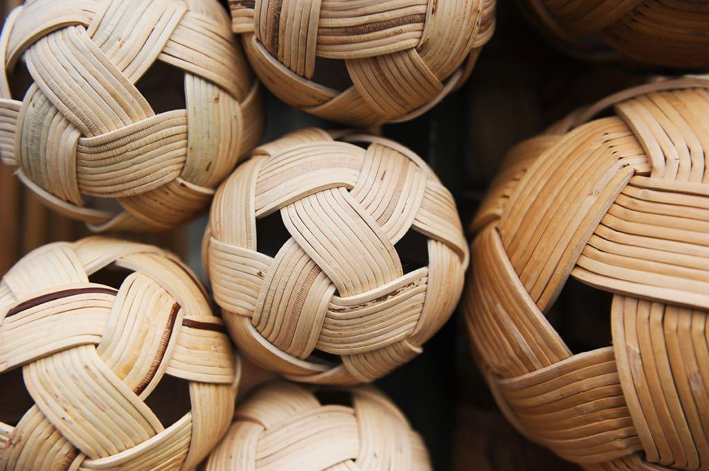 The woven ball used in this sport