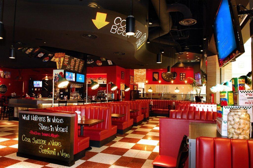 Inside the Slice of Vegas Italian restaurant in Las Vegas