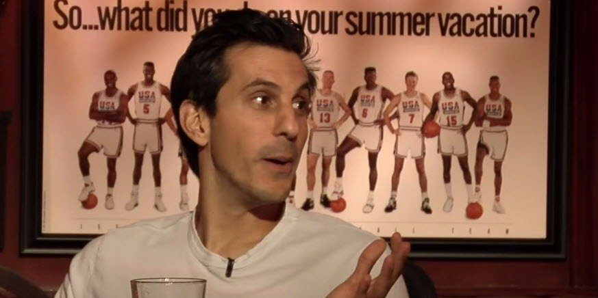 A shot of Voulgaris during an interview about NBA betting