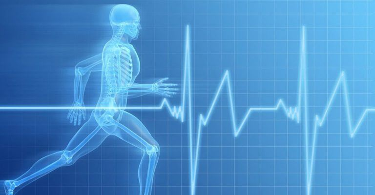 An image representing the heart rate of a runner, on a blue background