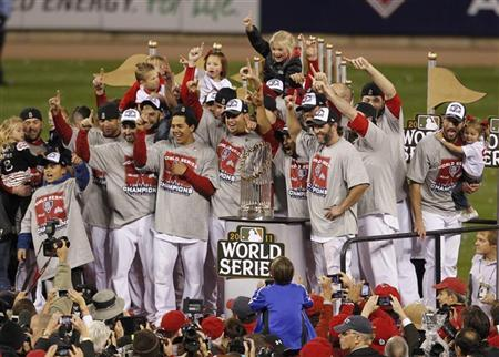 An image of the St Louis Cardinals after winning the 2011 MLB World Series
