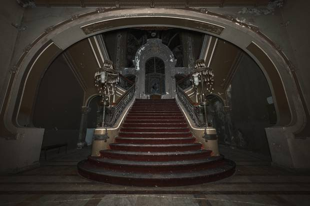 A staircase from inside the Romanian derelict casino