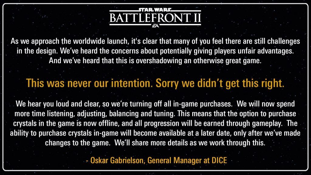 An in-game message regarding loot boxes on Star Wars Battlefront 2