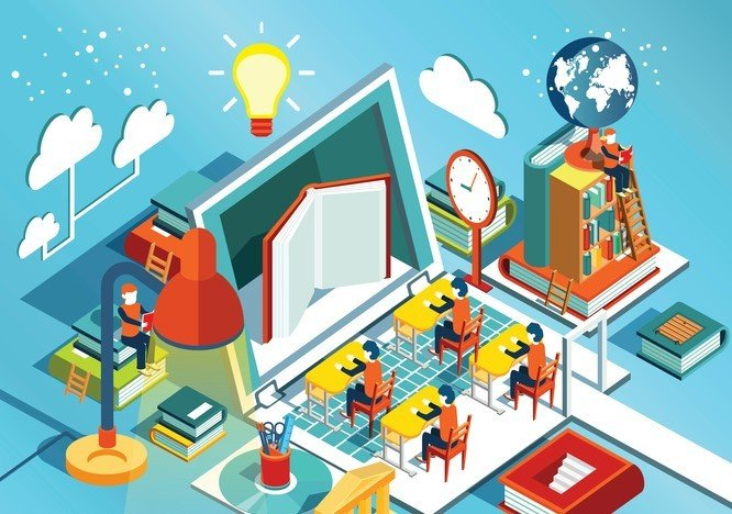 Vector illustration of online studying