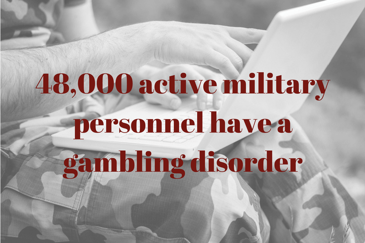 there are 46,000 army soldiers with a gambling problem text on black and white photo