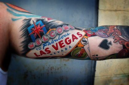 A tattoo of Las Vegas and it's gambling reputation