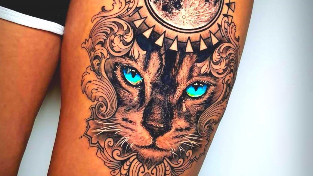 An animal tattoo with fluorescent eyes
