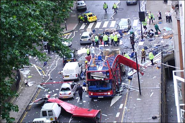 An image showing the aftermath of a bus bomb