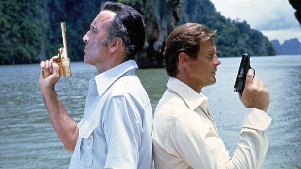 Christopher Lee and Roger Moore, stars of the movie The Man with The Golden Gun