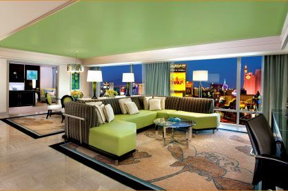 A luxury hotel suite in The Mirage overlooking the Vegas strip