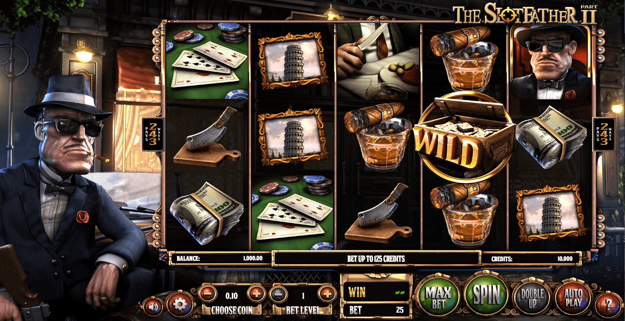 Slotfather, a Betsoft Gaming slot inspired by the gangster-themed movie The Godfather