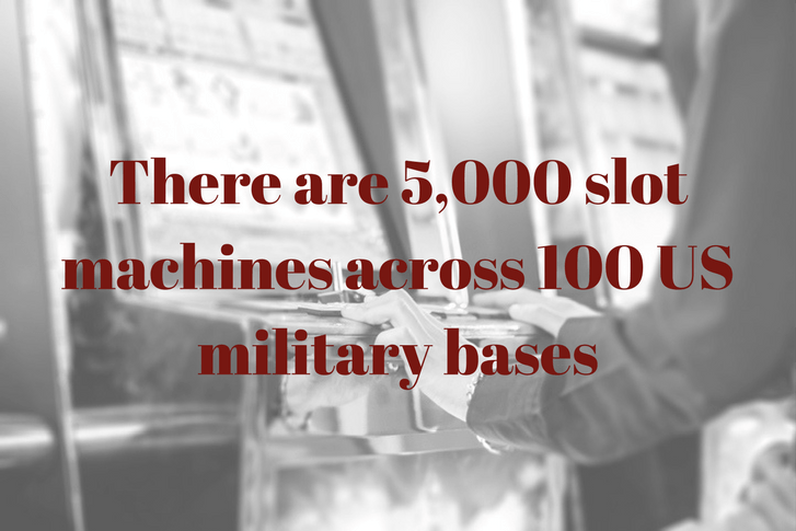 There are 5,000 slot machines in 100 US military bases written in red text across black and white photo