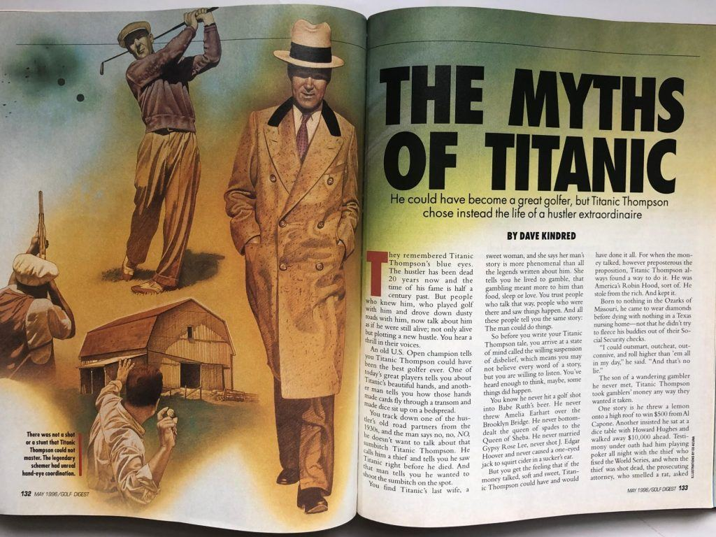 Double spread of a magazine article on Titanic Thompson