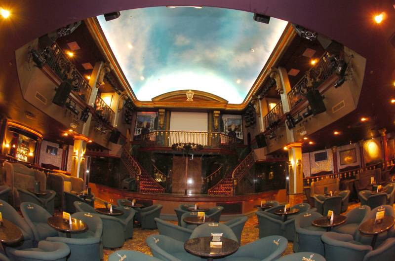 inside of Treasures adult club with sky ceiling