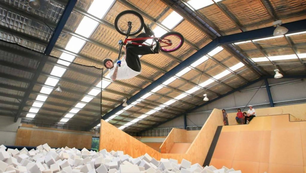 A photo of a bike trick from an event in the X-Games