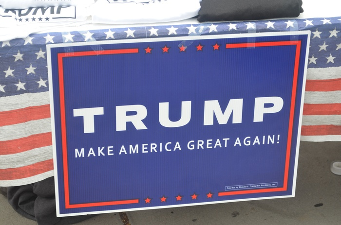 A sign supporting Donald Trump and his presidency