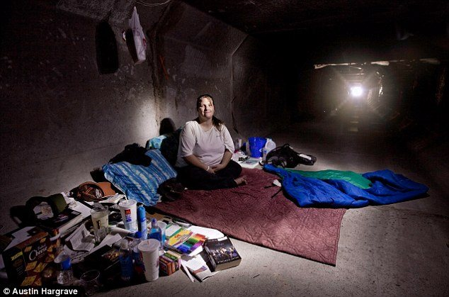 A person living a Las Vegas flood tunnel