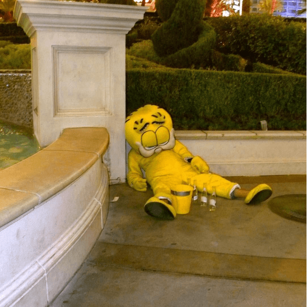 A drunken person in a Tweety Pie costume