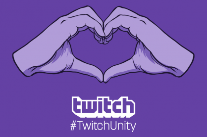 Twitch Unity logo promoting a safe space for creators