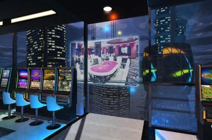 A casino through the eyes of a Virtual Reality headset