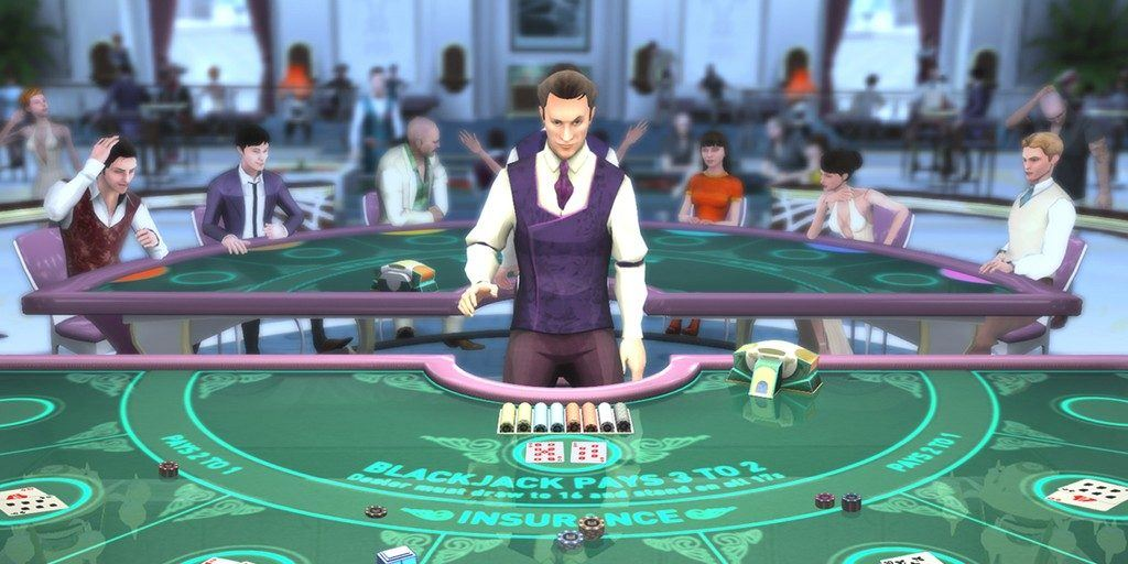 A virtual reality casino table with a dealer