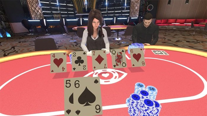 An image from in-game action of Virtual Reality Poker