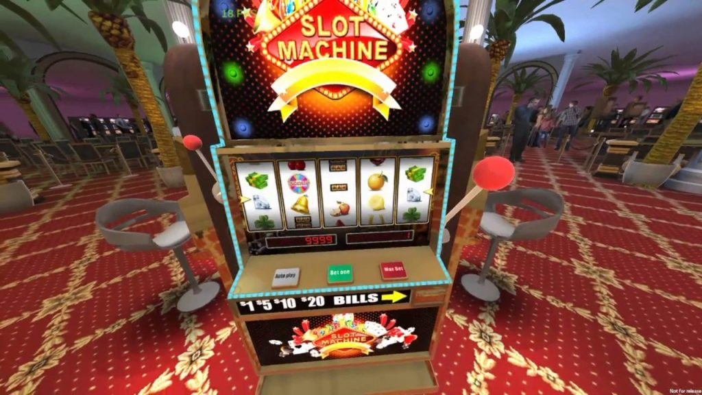 An image of a VR slot machine, in a casino room background