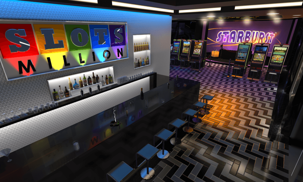An image of a virtual realty casino room, with slots