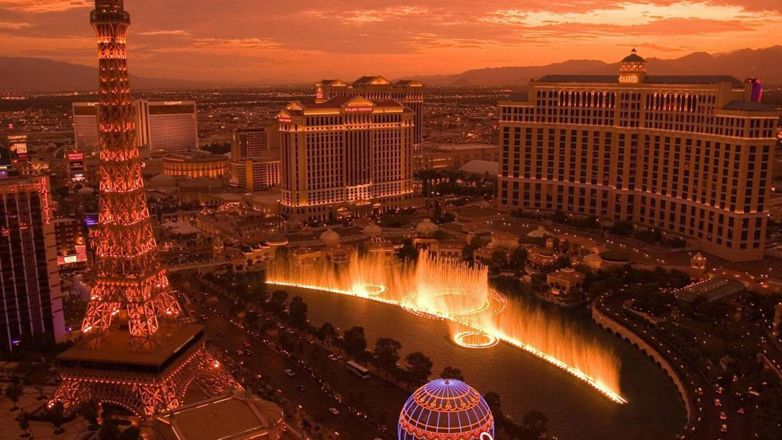 The heart of the Las Vegas strip at sunset