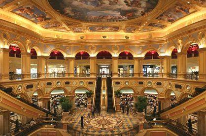 The main hall of the Venetian casino floor in Macau