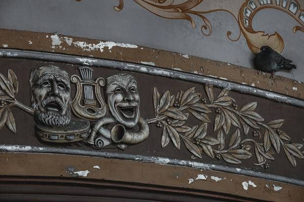A wall detail from inside the abandoned Romanian casino