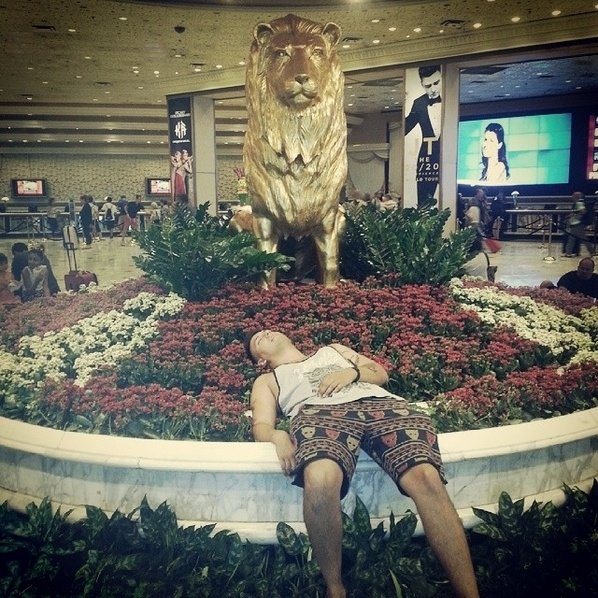 A typical example of a drunken person in the lobby of a hotel