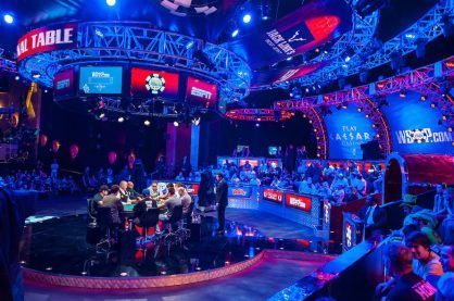 A photo from the final table of the World Series of Poker Main Event