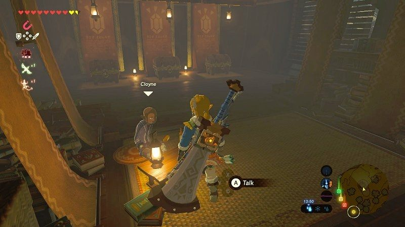 In-game action of gambling in the Zelda game